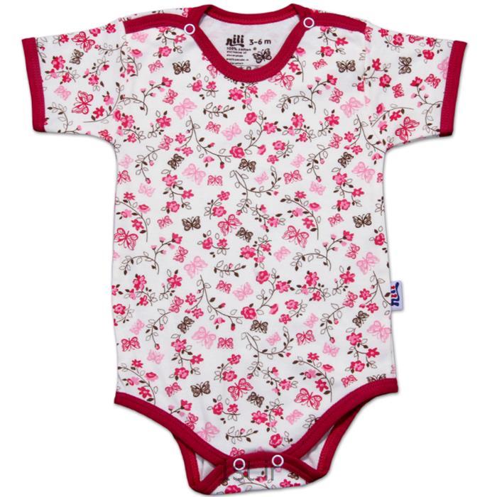 عکس پیراهن نوزادلباس نوزاد نیلی زیردکمه آستین کوتاه طرح گل و پروانه