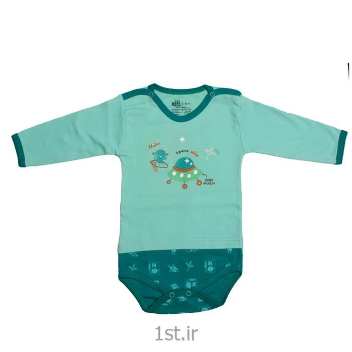 عکس پیراهن نوزادلباس نوزاد نیلی زیردکمه آستین بلند طرح سفینه