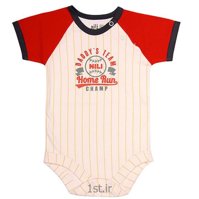 عکس سرهمی نوزادلباس نوزاد نیلی زیردکمه آستین کوتاه طرح بیسبال