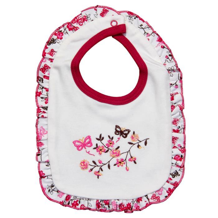 عکس  پیشبند نوزادلباس نوزاد نیلی پیشبند طرح گل و پروانه