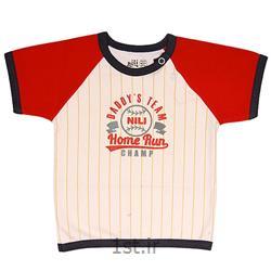 لباس نوزاد نیلی بلوز آستین کوتاه طرح بیسبال