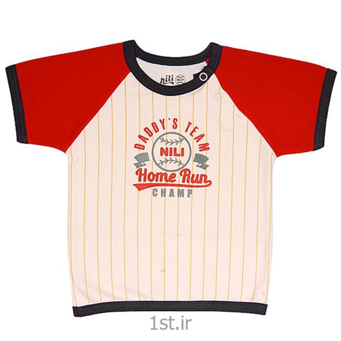 عکس تی شرت نوزادلباس نوزاد نیلی بلوز آستین کوتاه طرح بیسبال