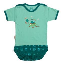 لباس نوزاد نیلی زیردکمه آستین کوتاه طرح سفینه