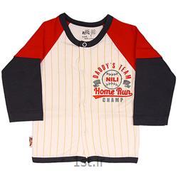 لباس نوزاد نیلی بلوز مانتویی طرح بیسبال