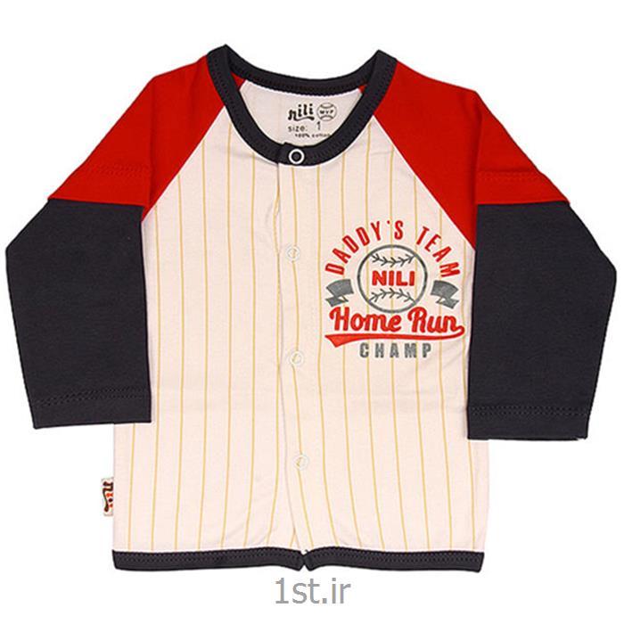 عکس پیراهن و تاپ نوزادلباس نوزاد نیلی بلوز مانتویی طرح بیسبال