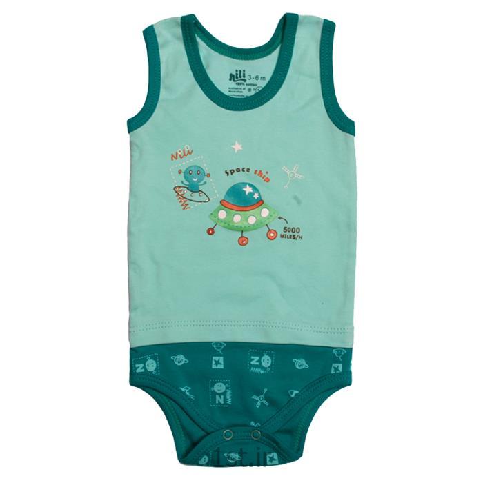 لباس نوزاد نیلی زیردکمه رکابی طرح سفینه