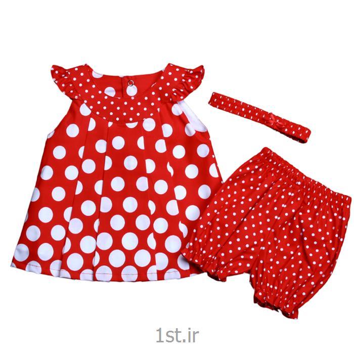 عکس پیراهن نوزادسارافون توپ توپی قرمز سفید