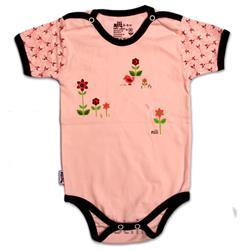 لباس نوزاد نیلی زیردکمه آستین کوتاه طرح گل ریز