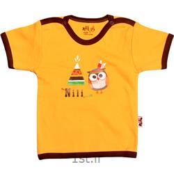 لباس نوزاد نیلی بلوز آستین کوتاه طرح جغد