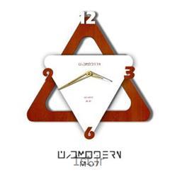 ساعت دیواری فانتزی فرازمان سفید و آرموت مثلث مدل 07