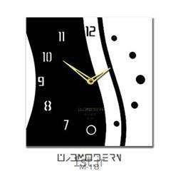عکس ساعت دیواریساعت دیواری فانتزی فرازمان سفید و مشکی مدل 18