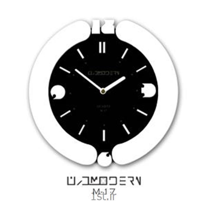 ساعت دیواری فانتزی فرازمان مشکی و سفید گرد مدل 17