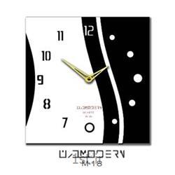 عکس ساعت دیواریساعت دیواری فانتزی فرازمان مشکی و سفید مدل 18