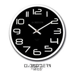 ساعت دیواری فانتزی مدرن مشکی و رینگ سفید مدل 03