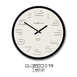 عکس ساعت دیواریساعت دیواری فانتزی فرازمان سفید و رینگ مشکی مدل 03