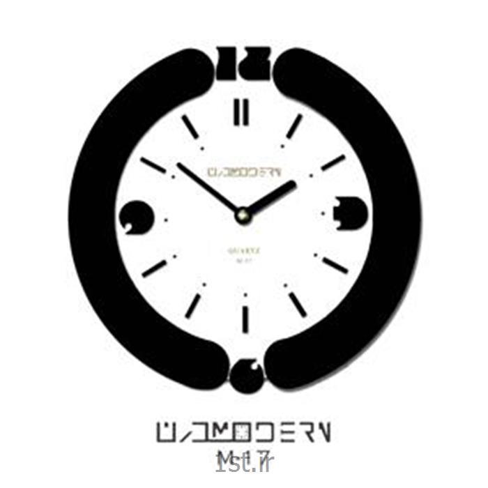 ساعت دیواری فانتزی فرازمان سفید و مشکی گرد مدل 17