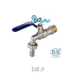 """عکس شیر فلکهشیر شلنگی دسته گازی (نفتی) آبی برنجی (معمولی) DN-۴۳A سایز ۱/۲"""" دی ان"""