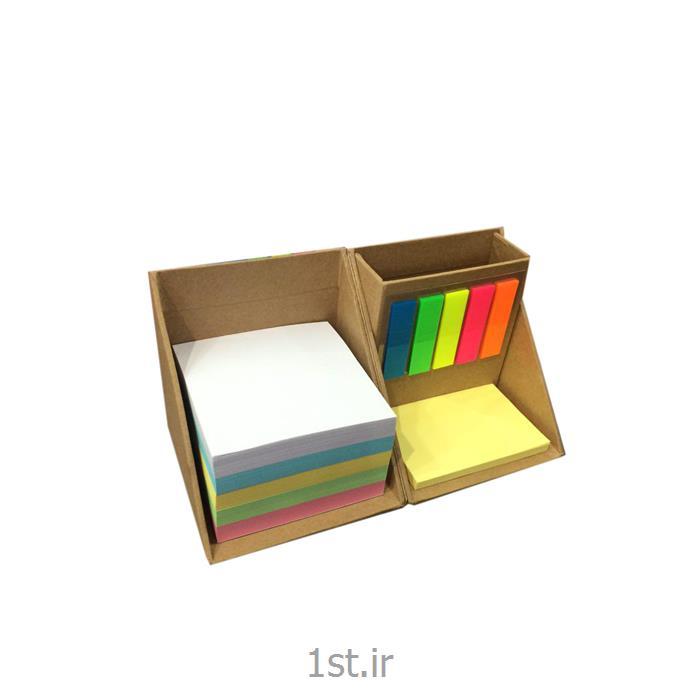 عکس برچسب و کاغذ یادداشتباکس یادداشت تبلیغاتی به همراه یادداشت و استیکر رنگی مدل BN-111
