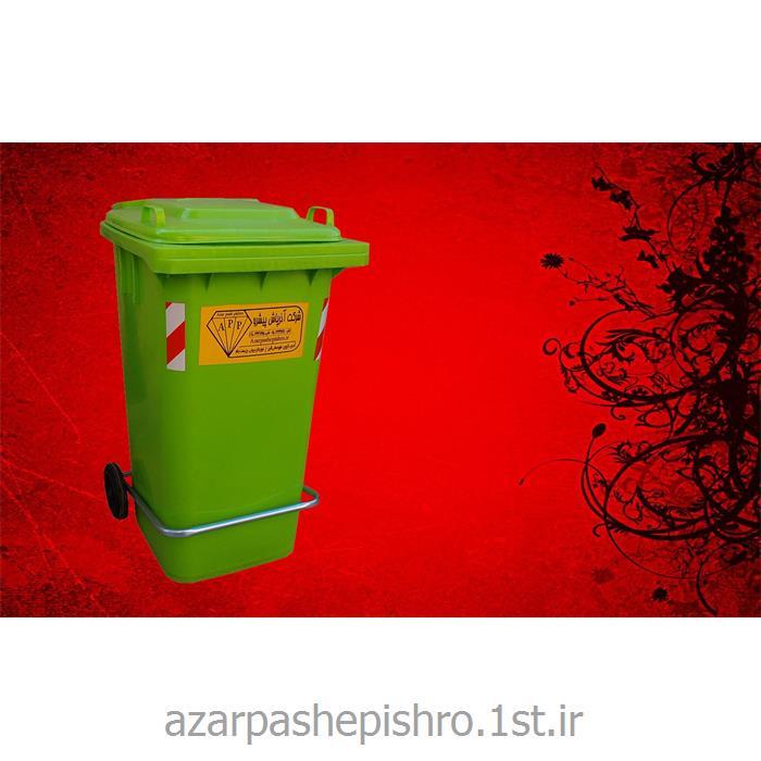عکس مخزن زباله مخزن زباله مکانیزه 120 لیتری پلی اتیلنی درب و چرخ و پدال دار