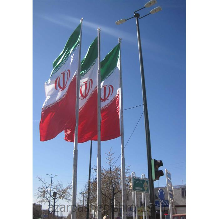 پایه و میل پرچم گالوانیزه با سیم بکسل و قرقره 3متری تا 18متری