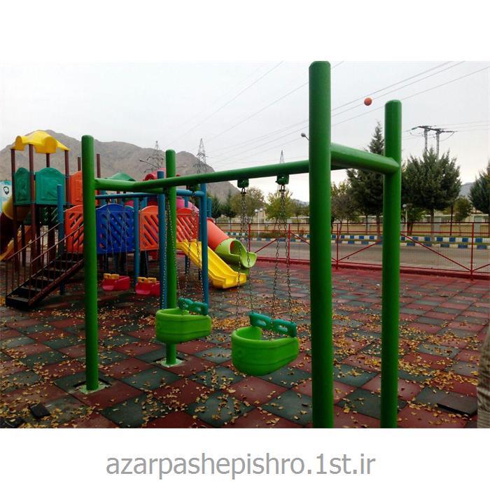 عکس تابتاب فلزی 2 و 3 نفره پارکی کودک با نشیمنگاه پلی اتیلنی حفاظ دار