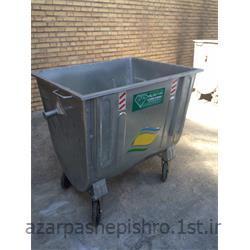 عکس مخزن زباله سطل آشغال خیابانی چرخ دار و بدون درب محدب فلزی مکانیزه 770 لیتری