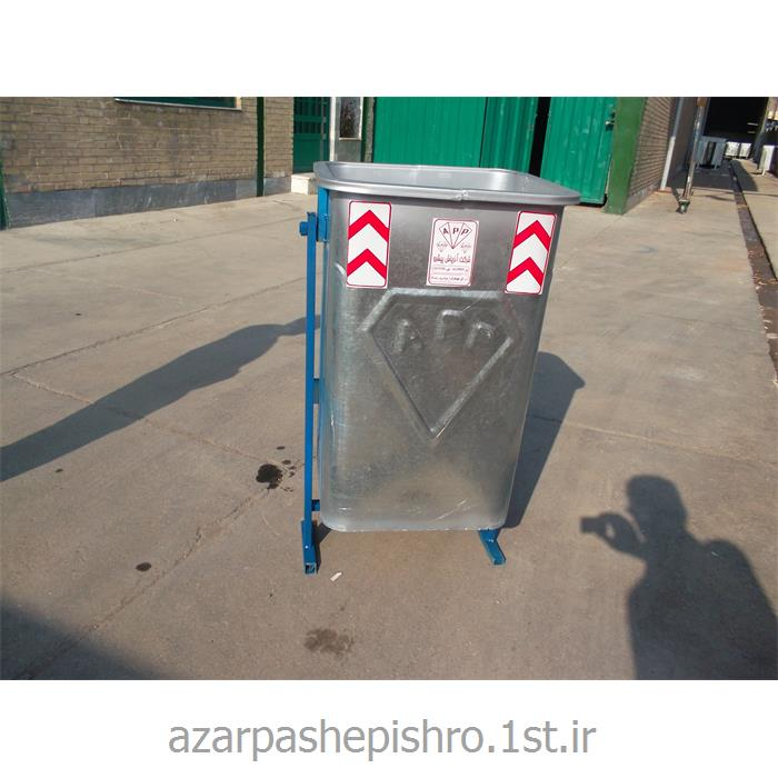 مخزن زباله شهری گالوانیزه 240 لیتری پایه دار و چرخدار