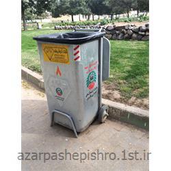 عکس مخزن زباله مخزن زباله شهری گالوانیزه 200 لیتری پایه دار و چرخدار