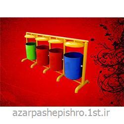 سطل آشغال استوانه ای پایه دار فلزی 4 قلو پسماندهای بازیافتی