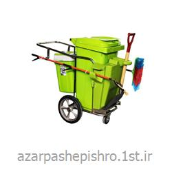 عکس چرخ دستی نظافتگاری یا ترالی گالوانیزه و پلی اتیلن حمل زباله