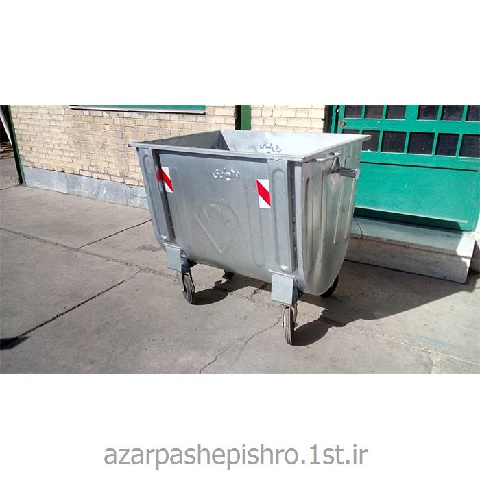 عکس مخزن زباله مخزن زباله محدب مکانیزه شهری فلزی با چرخ و بدون درب 660 لیتر