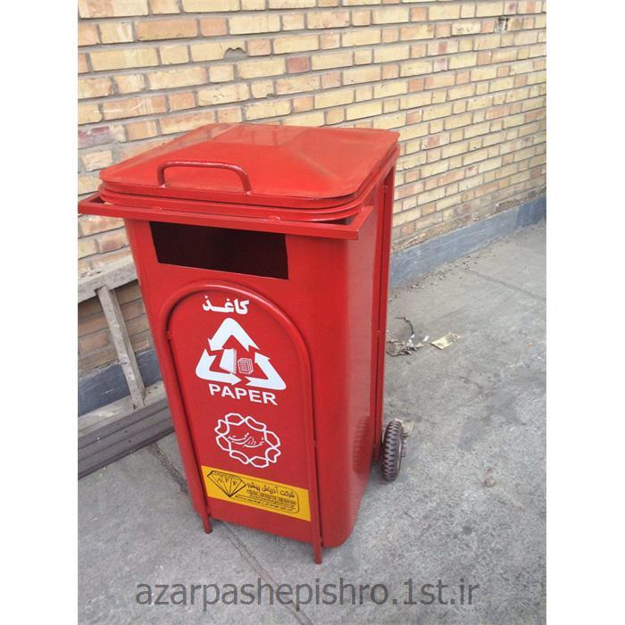 عکس سایر محصولات مرتبط با بازیافتمخزن زباله گالوانیزه تفکیکی آشغال 240 لیتری درب و چرخ دار