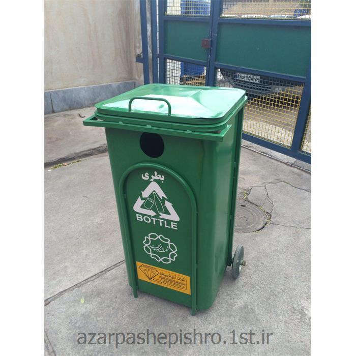 مخزن زباله گالوانیزه تفکیکی آشغال 240 لیتری درب و چرخ دار