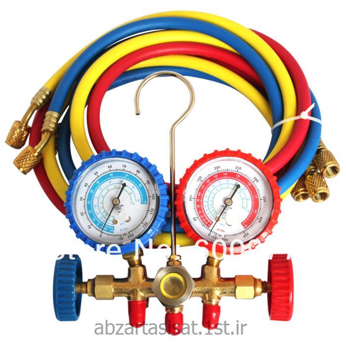 عکس رگولاتور (رگلاتور) فشار ( تنظیم کننده فشار )فشار سنج چند راهه سرویس (گیج دوقلو)