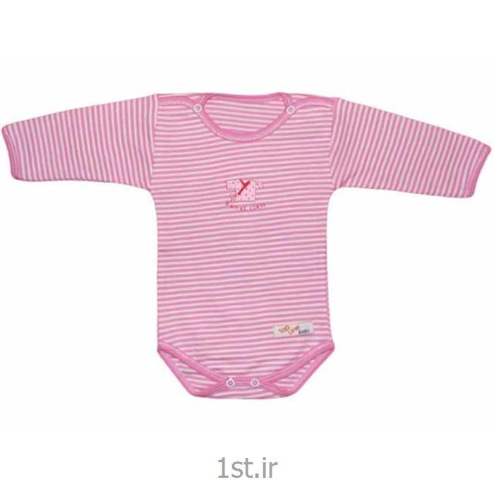 عکس تی شرت نوزادزیردکمه دارآستین بلند صورتی راه راه تاپ لاین Top Line