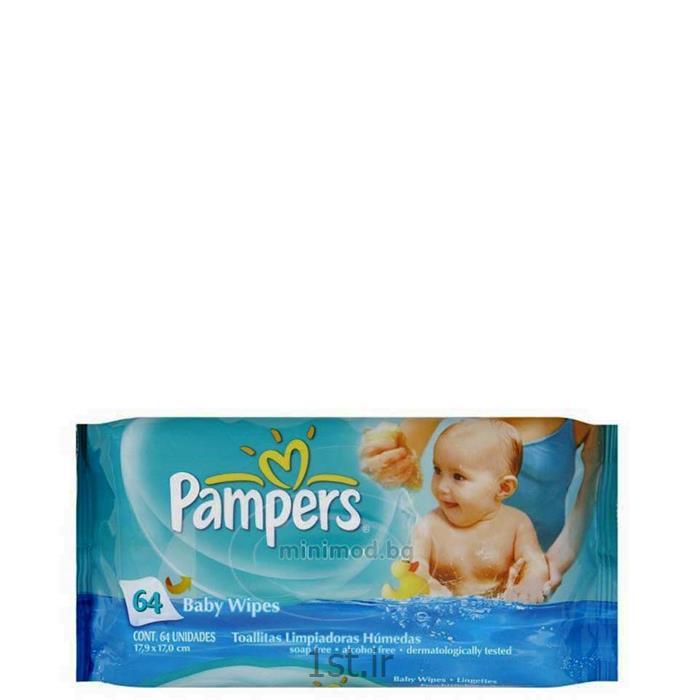 عکس دستمال مرطوبدستمال مرطوب 64 عددی پمپرز Pampers