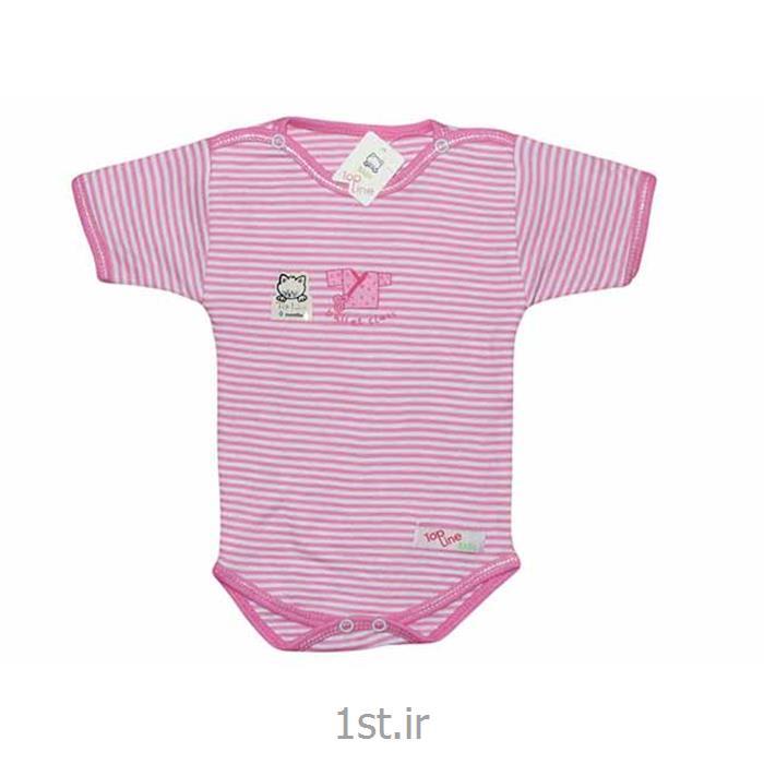 عکس تی شرت نوزادزیردکمه دارآستین کوتاه صورتی راه راه تاپ لاین Top Line