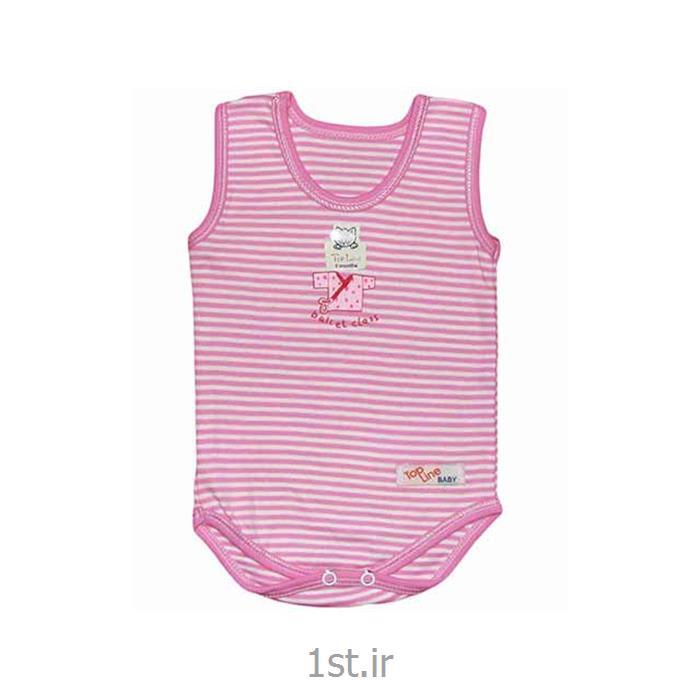 عکس تی شرت نوزادزیردکمه دارآستین رکابی صورتی راه راه تاپ لاین Top Line