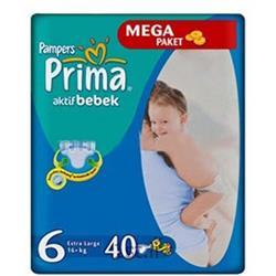 عکس پوشکپوشک نوزاد بالای 16 کیلوگرم پریما پمپرز (سایز6) Pampers