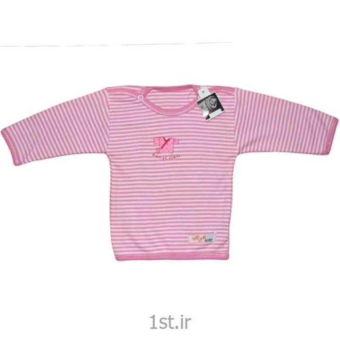 عکس تی شرت نوزادیقه گرد آستین بلند صورتی راه راه تاپ لاین Top Line