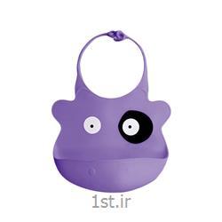 عکس  پیشبند نوزادپیشبند بنفش تمام سلیکون بی بی سیل Babisil