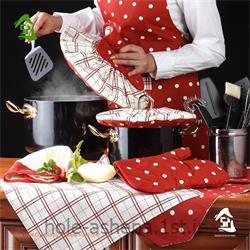 عکس مجموعه ( ست ) لوازم آشپزینیم ست آشپزخانه رزین تاژ طرح خالدار قرمز 8 تیکه