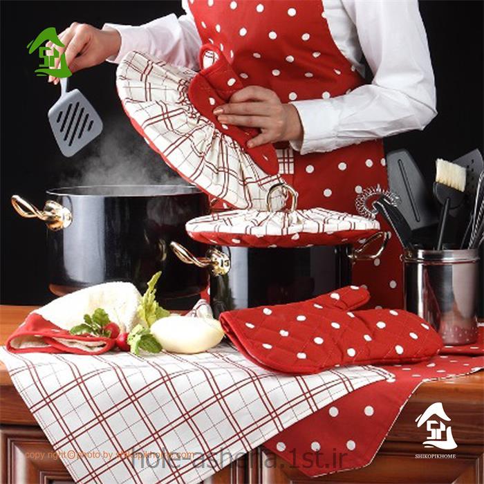 نیم ست آشپزخانه رزین تاژ طرح خالدار قرمز 8 تیکه