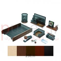 عکس مجموعه ( ست ) رومیزیست رومیزی 9 تکه چوب و فلز - چوب زرشکی فلز نقره ای