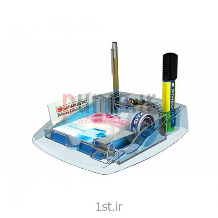 پایه نوار چسب و جا کاغذی آذران تحریرات مدل بلور کد 501 - آبی