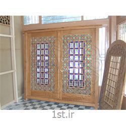 درب گره چینی  با طرح گره هشت و گره داوود خانی-door with colored glass