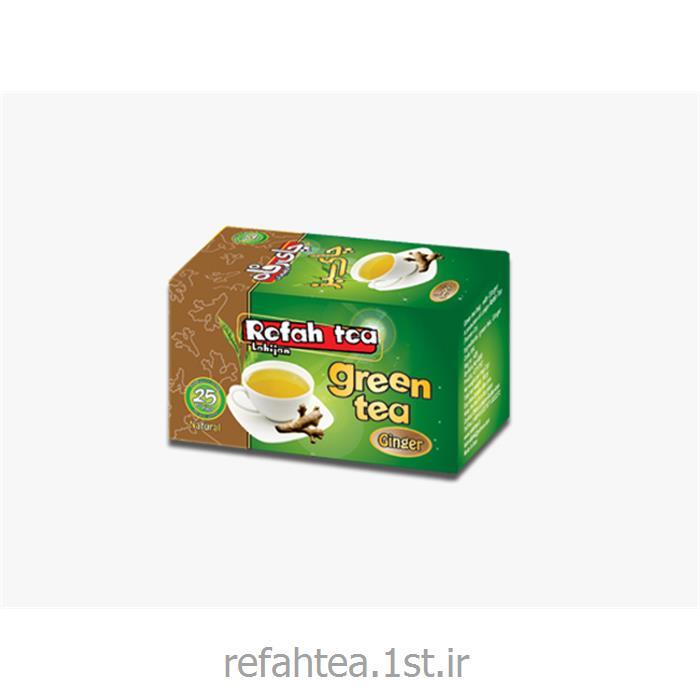 چای تی بگ سبز با طعم زنجبیل 25 عدد رفاه