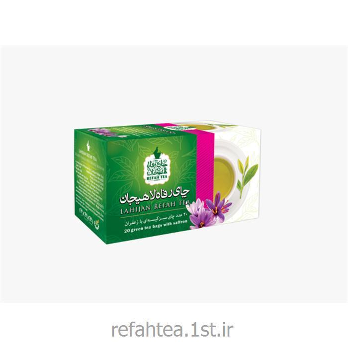 عکس چای سبزچای سبز کیسه ای با طعم زعفران