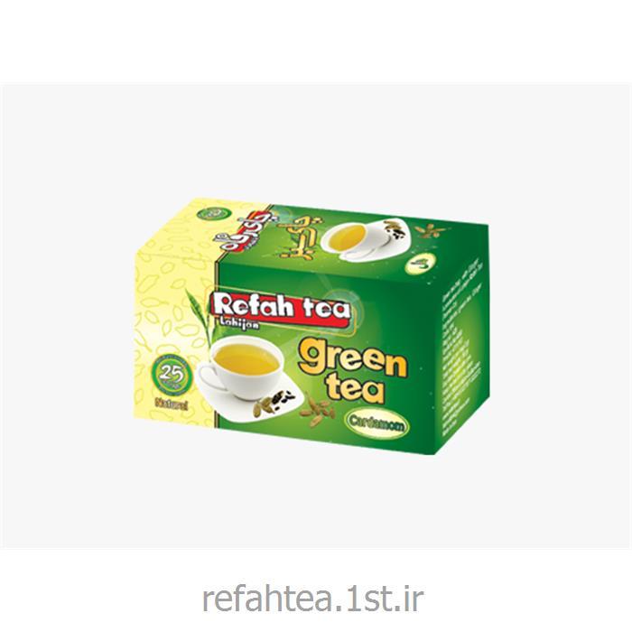 عکس چای سبزچای کیسه ای سبز با طعم هل