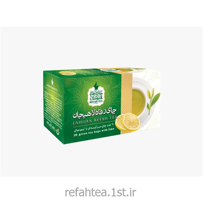 عکس چای سبزچای کیسه ای سبز با طعم لیمو
